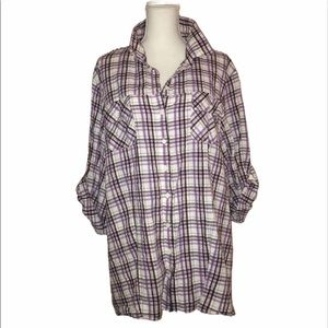 TORRID Sz 4/4X Plaid Cotton Blouse